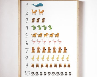 Animal  Numbers print, One to ten. Animals numbers. Art for kids.