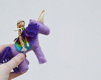 Felt Unicorn and Fairy Doll - waldorf unicorn toy, felt unicorn waldorf, miniature waldorf unicorn, waldorf fairy doll, mini fairy doll