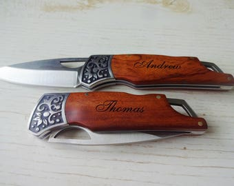 """Personalized Rosewood Decogrip Pocket Knife """"CLASSIC"""". Gift for Him. Gift for Dad, Husband, Brother, Boyfriend, Groom, Groomsmen."""