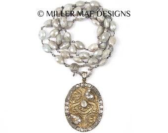 Rose Cut Diamond Gold Pendant Necklace | Silver Moonstone Necklace | Pave Diamond Clasp Necklace | Diamond Double Wrap Necklace | Genuine