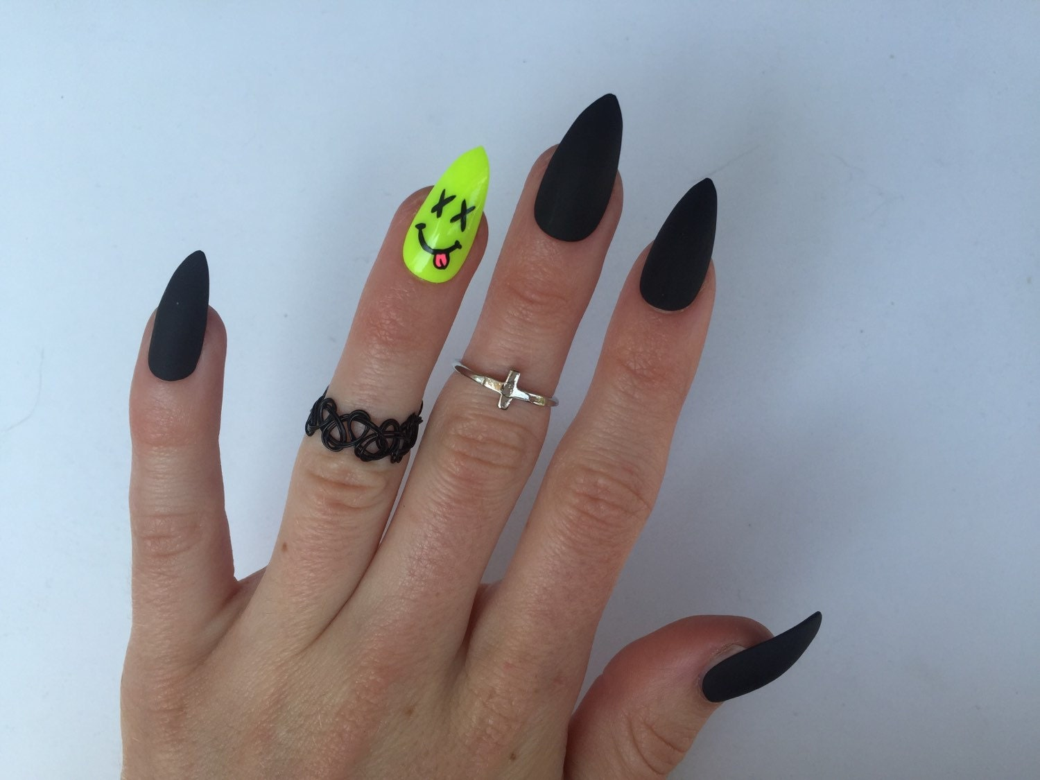 24 Neon Smiley and Matte Black Stiletto nails Neon Festival