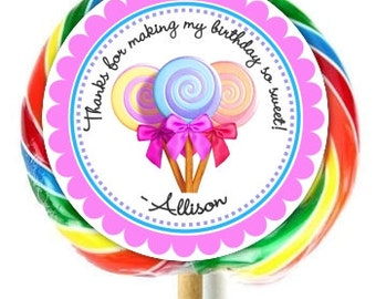 Lollipop Birthday Sticker, Candy Land Birthday Decoration Stickers, Extra Large Personalized Stickers, Fit on WHIRLY LOLLIPOPS