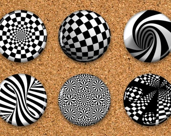 "Abstract Thumbtacks, Black White Push Pins, Spiral Magnets, 6 thumbtacks for corkboard, 6 Magnets for Magnetic Whiteboards or fridge 1"" size"