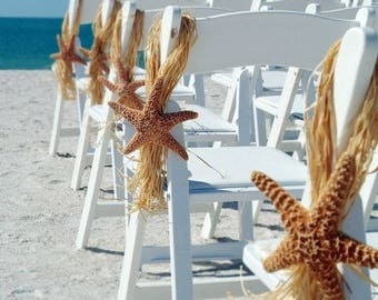 Beach Wedding Sugar Starfish Chair Hanger Aisle Decoration, Destination Wedding Decoration, Wedding Aisle Marker