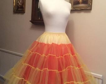 Multi colour stiff net 3 layer petticoat yellow red orange
