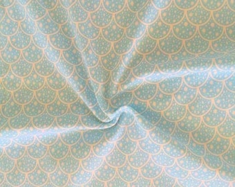 """NEW Aqua Scales on cotton lycra knit fabric 95/5 58"""" wide."""