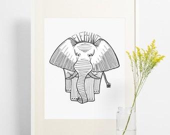 Elephant print. Black and white patterned Elephant Print.