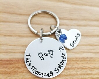 Mothers Day Gift for mom - New mom gift - Mom Gift Ideas - Push Present - Personalized Keychain - Hand Stamped Jewelry - Mom Jewelry