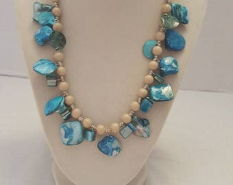 Blue Shell Necklace Blue and Beige Necklace Shell Necklace Blue Beach Necklace One Of A Kind Necklace Beach Necklace Summer Necklace Gift