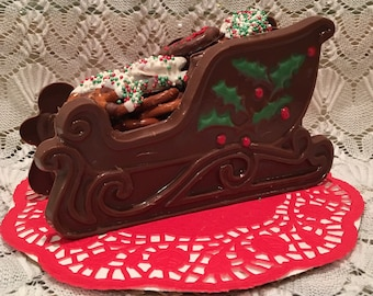 Chocolate Sleigh Filled With Chocolate Covered Pretzels and Chocolate Covered Oreos Medium