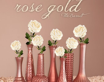 Rose Gold Wedding, Rose Gold Decor, Rose Gold Centerpieces, Rose Gold Bud Vase, Rose Gold Decor, Gold Vases, Gold Wedding, Gold Vases
