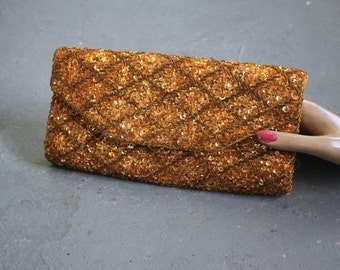 vintage 1950s evening bag / 50s gold beaded clutch purse / 50s british hong kong beaded purse / 50s gold evening bag / beaded evening bag