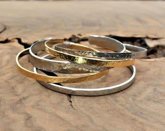 Stackable bracelets, silver and gold stacking bangles, hammered cuff bracelets, set of five bracelets, bracelets for women, minimalist