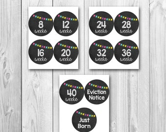 Printable pregnancy stickers, chalkboard stickers,  photo prop stickers, instant download