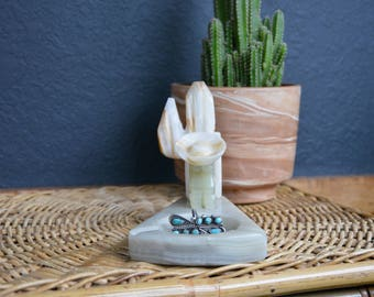 Vintage Mexican Siesta Ashtray Jewelry Storage | Onyx/Marble Dish | Carved Onyx Marble Ashtray Siesta Figure Against Cactus Wearing Sombrero