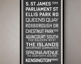 Toronto, Vintage Bus List / Destination Blind / Subway Art - Wall Art 3