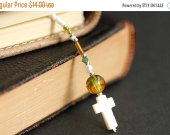 MOTHERS DAY SALE Green and Amber Bookmark. Christian Bookmark. White Shell Cross Bookmark. Beaded Book Thong. Handmade Bookmark. Christian C