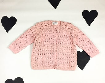 1960's sweet pink knit wool cardigan sweater 60's Joyce Hand knit made in Italy chunky crochet sheer knit warm cozy mod dolly sweater / M L