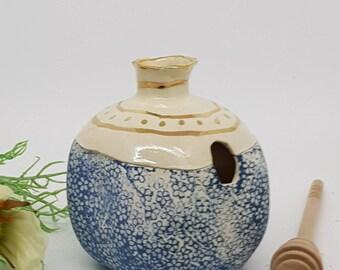 Ceramic honey dipper, Ceramic honey pot, ceramic pomegranate, Rosh Hashanah, ceramic hone  jar, GOLD  Blue and white pomegranate, 1002