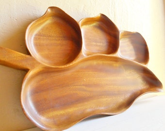 Large Vintage Monkey Wood Serving Dish Bowl 4 Compartments Beautiful Pepper Shape Platter Tray