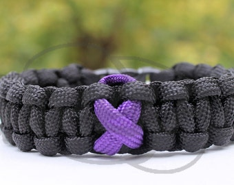 Epilepsy Migraine Chiari Alzheimer's Thyroid Cancer Awareness Ribbon Paracord Survival Strap Bracelet Anklet Contoured Side Release Buckle