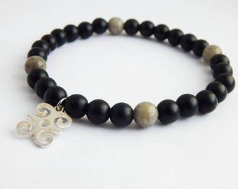 African Beaded Bracelet Dwennimmen Jewelry Black Gray Silver