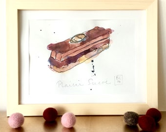 Plaisir Sucré Illustration - Cake - French Chocolate Cream Cake - Pastry  - Original Ink and Watercolour on Paper
