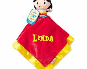 Wonder Women Lovey Snuggle Blankey Security Baby Blanket lovey - Monogrammed
