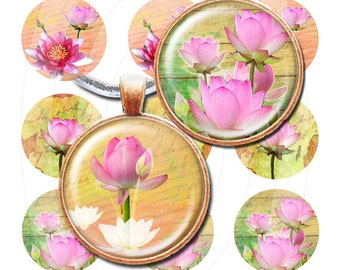 Lotus flower bottle cap images 4x6 inch digital collage sheet 1 inch round images printable downloads