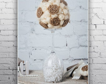 Rustic Wedding decorations Ivory Wedding Centerpiece Tall centerpiece Wedding photo props Pomander Wedding flower ball Wedding Pomander