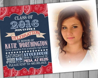 High School Graduation Party Invitation College Graduation Invitation Graduation Announcement Country Invitation Photo Graduation