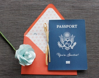 Starfish Passport Wedding Invitation - Navy & Coral - Available in all colors + foil