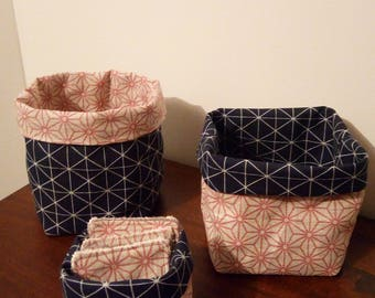 trio of baskets, Navy and pink graphic