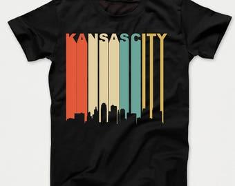 Retro 1970's Kansas City Missouri Downtown Skyline Kids T-Shirt