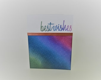 Handmade greeting card - Best wishes - Dimensional card - Copper metallic