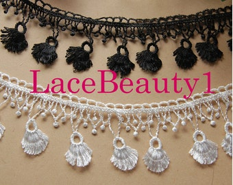 Embroidery lace trim white/black Lace Trim Vintage Lace trim floral lace trim 5cm width 1 yard length