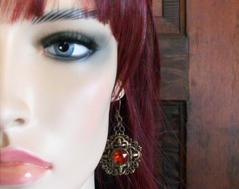 Victorian Inspired Layered Brass Filigree Earrings with Madeira Topaz Rhinestones E0504 Fantasticality by Robin Taylor Delargy