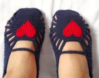 SALE Women socks, Handmade Slippers, Turkish Crocheted Slippers, Authentic footwear, Stylish foot wear, Heart slippers