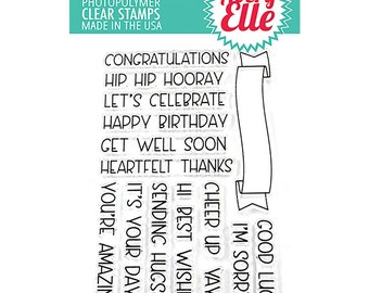 Avery Elle STamp Set  Banner Bits,  Clear Stamps, Photopolymer Stamps