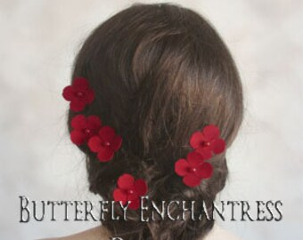 Red Hair Flowers, Woodland Wedding Hair, Bridal Accessories - 6 Red Adora Hydrangea Hair Pins - Pearl Centers