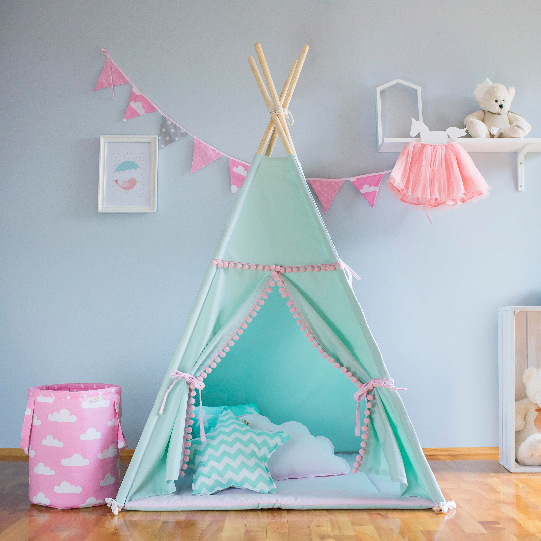 Tipi Mint und pink Tipi Kinder Tipi Playtent Zelt Tipi