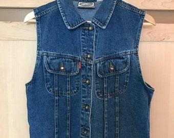 Denim Vest- Sleeveless Jean Jacket- Blue Jeans- Festival Fashion- 90s Grunge- 1990s Clothing- Bugle Boy- 90s Clothes- SMALL MEDIUM