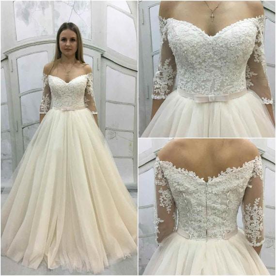 Jahrgang inspiriert a-Linie Licht-als-Luft Hochzeit Kleid