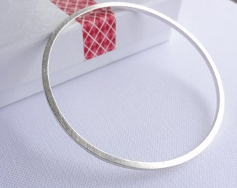 Sterling Silver Square Bangle - Brushed Bangle - Handmade
