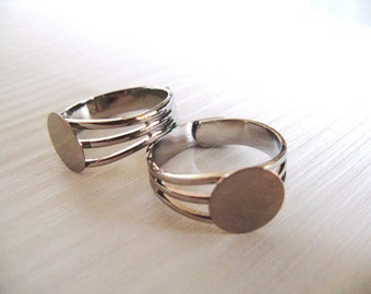 Adjustable Ring Base Blank - silver tone copper - 5 pcs - pad 10 mm- side decorated