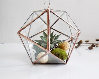 Hanging Glass Terrarium, Geometric Glass Terrarium for Indoor Gardening, Icosahedron, Modern Planter Air Plants