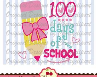 SVG DXF 100 days of School ,Back to School Silhouette & Cricut Cut Design for girls  SCH14