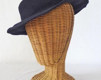 Vintage KNOX 1930s Women's Navy Blue Wool Felt Tilt Hat Topper Elastic Strap Repair