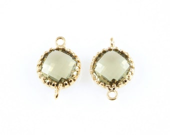 2pcs Olivine Faceted Glass Connector in Gold, Framed Round Connector / Bridesmaid / Gems / Olive / 8mm x 12mm / GOVG-008-P