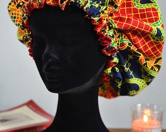 Royal Rouge Bonnet. Gambians fabric with satin lining